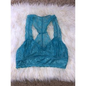 Anemone Teal Racerback Lace Bralette